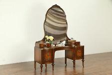 Satinwood & Mahogany Antique Vanity & Mirror, Signed Blackhawk #33087