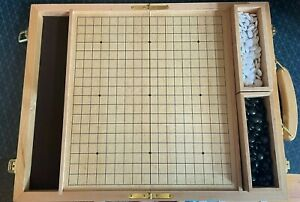 Wooden Go Board with handle and stones