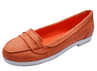 LADIES CORAL SLIP-ON FLAT COMFY SMART CASUAL PUMPS LOAFERS SHOES SIZES 3-8