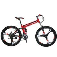 """26"""" Folding Mountain Bike Shimano 21 Speed Bicycle Full Suspension MTB Bikes"""