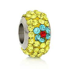 Stainless Steel European Style Charm Beads Round Silver Tone With Yellow Blue &