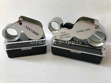 New 2pc Jewelers Eye Loupe Set 10X 15mm + Dual 10X - 20X Magnifying Glass