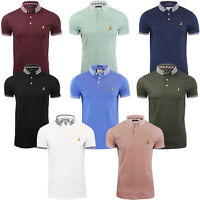 Brave Soul Mens Glover Casual Short Sleeve Jacquard Collar Polo Shirt Tee Top