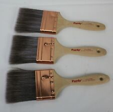 """3 Purdy XL Sprig Paint Brushes 3"""" Flat All Paints Lot Unused Copper Ferrule"""