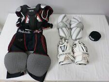 Lot of Lacrosse STX Jolt Shoulder Pad Riddell Shorts Brine King Gloves & Arm Pad