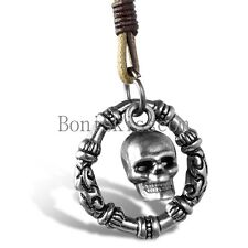Skull Fire Men's Biker Rider Rock Stainless Steel Pendant Necklace Leather Cord