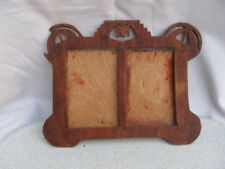 OLD ANTIQUE PRIMITIVE HAND CARVED WOODEN DOUBLE PHOTO FRAME
