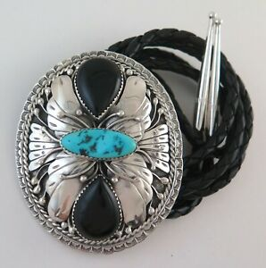 XL Sterling Silver Turquoise and Onyx Magnificent Southwestern Bolo Tie