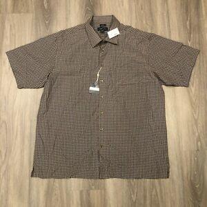 Joseph Feiss Mens 2XLT Brown Checkered Modal Poly Blend S/S Button Up Shirt NWT