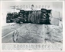 1953 Overturned Tractor Trailer Truck Rt 41 Columbus Ohio Press Photo