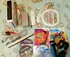 Nintendo Wii Console + Games  Mario Kart + Wheel etc.. fully tested