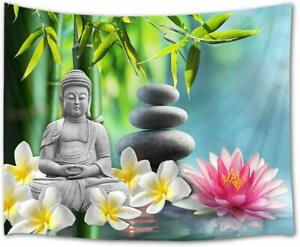 Tapestry Green Bamboo Flower Statue Spa Wall Hanging Bedspread Home Dorm Decor