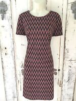 Calvin Klein Size 14 Woman's Black Red White Chevron Knit Sheath Career Dress
