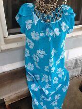 Vintage Hilo Hattie Hawaiian Dress S Muu Muu Aloha Blue Floral Long Hibiscus
