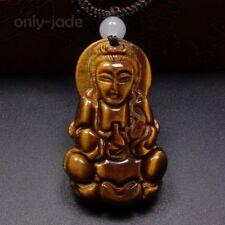 100% Natural Yellow Brown Tigers eye Jade Pendant & Cord Necklace -Kwan-yin V009