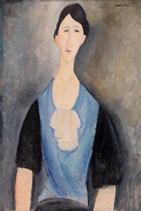 Young Woman in Blue by Amedeo Modigliani 60cm x 40cm Art Paper Print