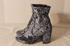 ASOS Velvet Ankle Boots Blue Gray Size 6M Stretch Fabric Side Zip EXC