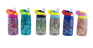Children's Plastic Water Drinking Bottle with Handle and Straw Lid 17 ounce