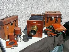 ANTIQUE LANCASTER INTERNATIONAL FOLDING CAMERA RAPID CABINET LENS & ACCESSORIES