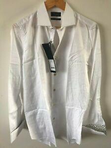 """Paul Smith Gents Formal Tailored Textured Shirt in White Sizes 15""""-17"""" -RRP £170"""