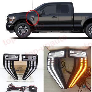 For 2021-2022 Ford F-150 F150 LED side vent fender day running light Signal Lamp