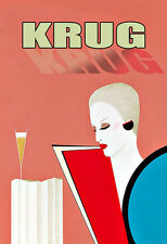 Art Ad Krug Champagne  Drink Alcohol Drinks Pub Bar Chic Deco   Poster Print