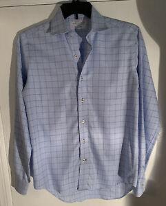 Lorenzo Uomo 100/% Cotton Blue Check Wrinkle Free Dress Shirt Size 17.5 34//35