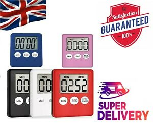 Electronic LCD Screen Kitchen Timer Square Cooking Count up Alarm Multi-purpose.