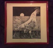 VINTAGE ESTATE 1950'S COUNTRY ROOSTER BIRD SIGNED PEN INK WATERCOLOR PAINTING!