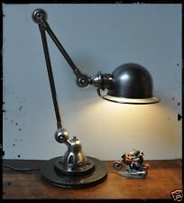 Belle lampe JIELDE 2 bras 25 & 40 cm + restaurée finition polie graphite + socle
