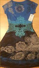 DESIGUAL DRESS EVENING BLUE MULTI COLOR PRINT LINED LOGO STYLISH SIZE S/M NEW