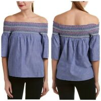 BEACH LUNCH LOUNGE Blue White lucy smocked top off Shoulder Blouse Size M