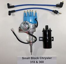 Chrysler Small Block 273-318-340-360 Blue CAP HEI Distributor + Black 45K V Coil