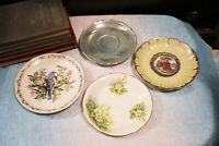 Vintage Lot of 4 Saucers Bone China Blue Bird Clarence Nasco England Gold Japan