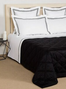 $1475 FRETTE LOZENGE TRAPUNTINO KING COVERLET BLANKET QUILT QUILTINO BLACK ITALY