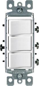Leviton  Decora  15 amps Rocker  Triple Combination Switch  White  1 pk