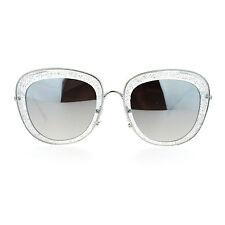 SA106 Womens Double Frame Gel Glitter Plastic Butterfly Sunglasses