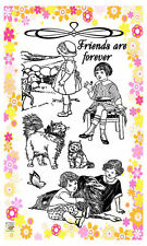 Rural kids with Cat ~ clear stamps set vintage FLONZ 194 rubber acrylic