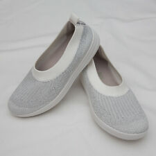 Fitflop Uberknit Slip On Ballerina Flat Womens Size 9 white silver gray Shoes
