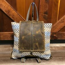 Myra Bag Intrigued Backpack Upcycled Cotton Rug & Leather Nwt