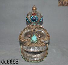 Rare Tibet Natural Crystal Silver Filigree inlay gem Skeleton Skull Head Statue