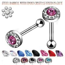 Tongue Ring Barbell Steel  14G 5/8 CRYSTALS BARBELL/EPOXY FIXED