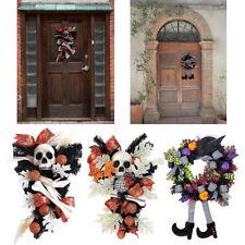 Halloween Skeleton Wreath with Pumpkin Door Decoration Indoor Wall Decor