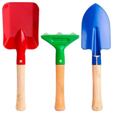 """Annymall Kids Garden Tools 3-Piece Set, 8"""" Metal with Sturdy Wooden Jj0011"""
