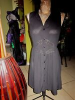 DOE & RAE!>Black Button Down SHEER Dress! Size S>Lace At Front Waist!>>