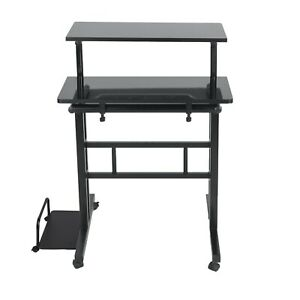 Standing Desk with side storage and locking wheels.