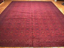 13 x 19 AFGHAN TURKMEN Tribal Hand Knotted Wool RED NAVY NEW Oriental Rug Carpet