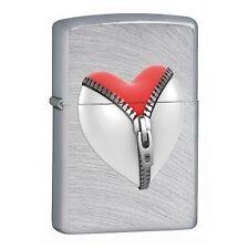 Accendino ZIPPO 28327 Zipper heart cuore zip acciaio satinato amore love