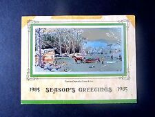 Calendar 1985 Season's Greeting, Tri-Fold Currier & Ives pic, Brown Distributing