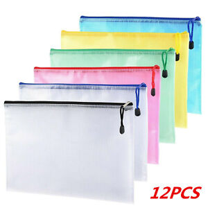 12 Pack A4 Zipped Storage Wallets Document File Folder Paper Archive Zip Bags UK